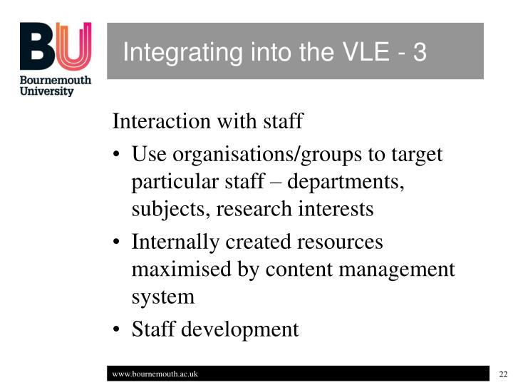 Integrating into the VLE - 3