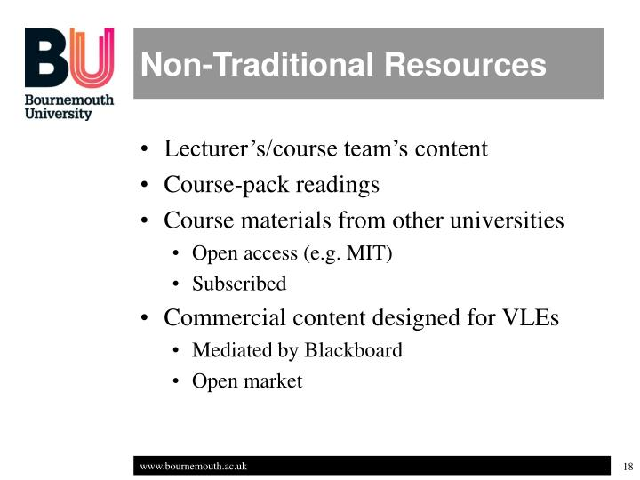 Non-Traditional Resources