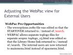 adjusting the webpac view for external users
