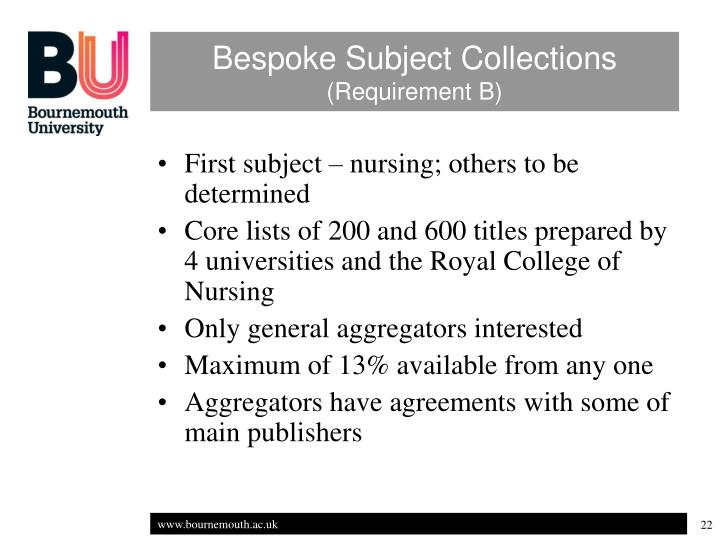 Bespoke Subject Collections