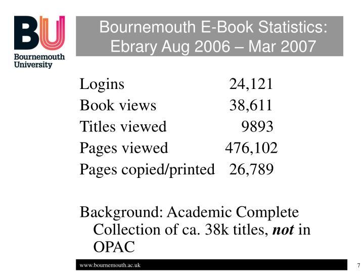 Bournemouth E-Book Statistics: