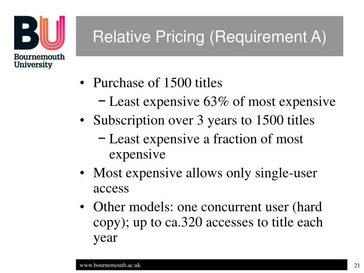 Relative Pricing (Requirement A)