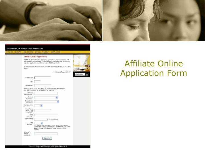 Affiliate Online Application Form