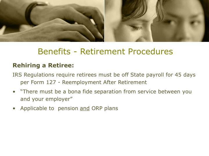 Benefits - Retirement Procedures