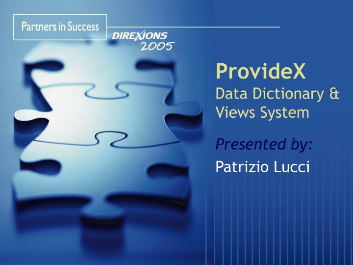 providex data dictionary views system n.