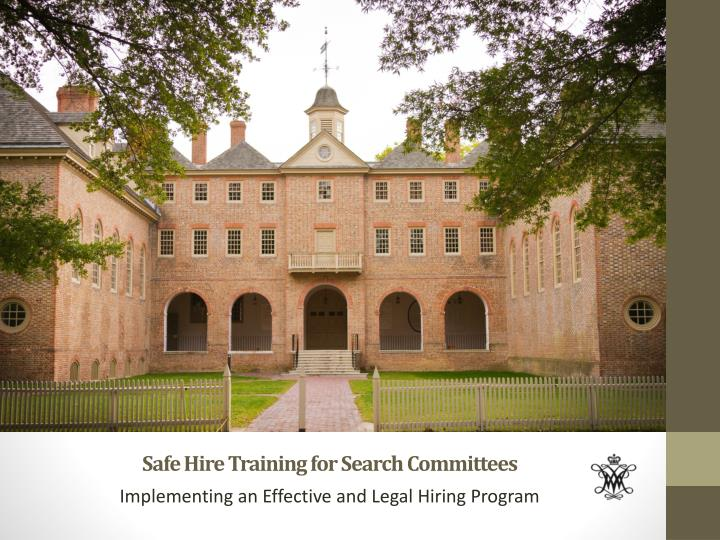 safe hire training for search committees n.