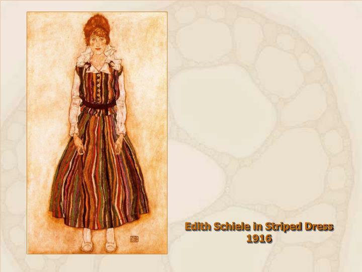 Edith Schiele in Striped Dress