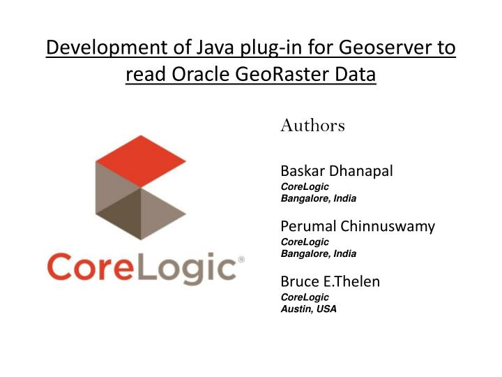 development of java plug in for geoserver to read oracle georaster data n.