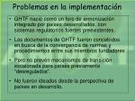 problemas en la implementaci n