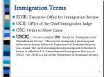 immigration terms