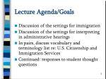 lecture agenda goals