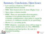 summary conclusions open issues