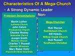 characteristics of a mega church
