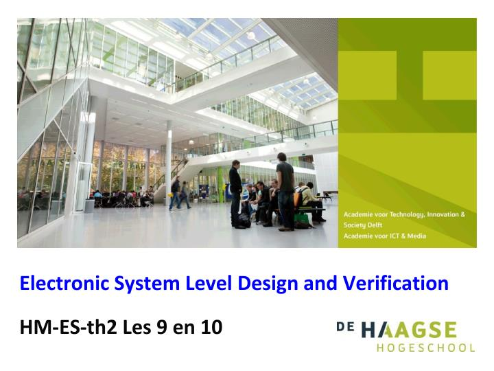 electronic system level design and verification n.
