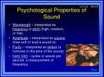psychological properties of sound