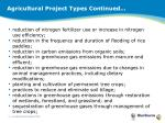 agricultural project types continued