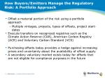 how buyers emitters manage the regulatory risk a portfolio approach