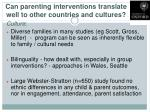can parenting interventions translate well to other countries and cultures1