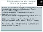 effective parenting interventions what is the evidence base