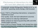 effectiveness of interventions for children who have been physically maltreated