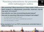 parenting interventions for preventing child maltreatment outline