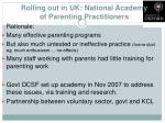 rolling out in uk national academy of parenting practitioners