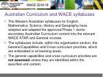australian curriculum and wace syllabuses