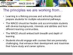 the principles we are working from