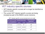 vet industry specific courses