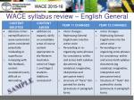 wace syllabus review english general