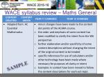 wace syllabus review maths general