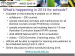 what s happening in 2014 for schools