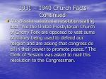 1931 1940 church facts continued