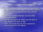 1931 1940 misc facts