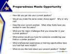 preparedness meets opportunity