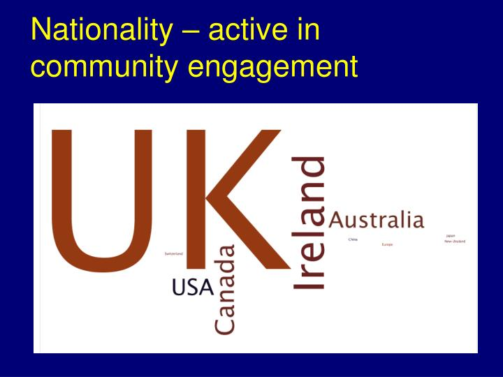 Nationality – active in community engagement