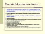 elecci n del producto o sistema