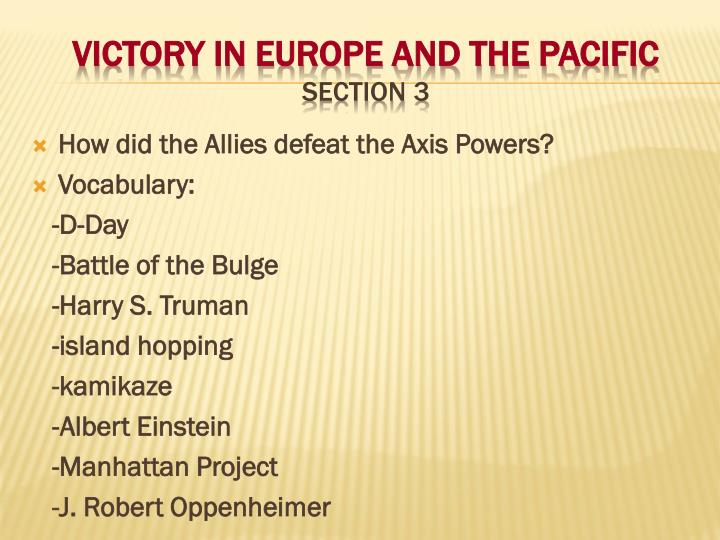 victory in europe and the pacific section 3 n.