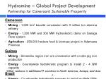 hydromine global project development partnership for cameroon s sustainable prosperity