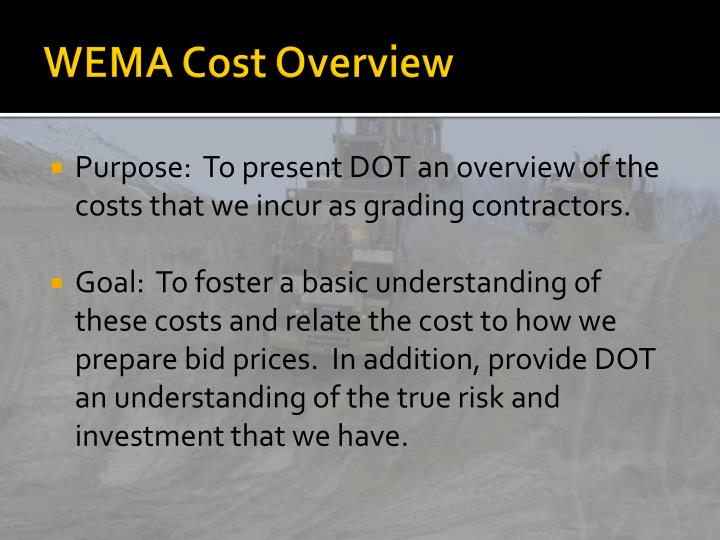 wema cost overview n.