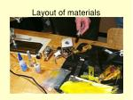 layout of materials