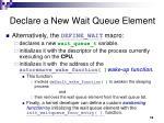 declare a new wait queue element