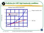prediction for lhc high luminosity conditions