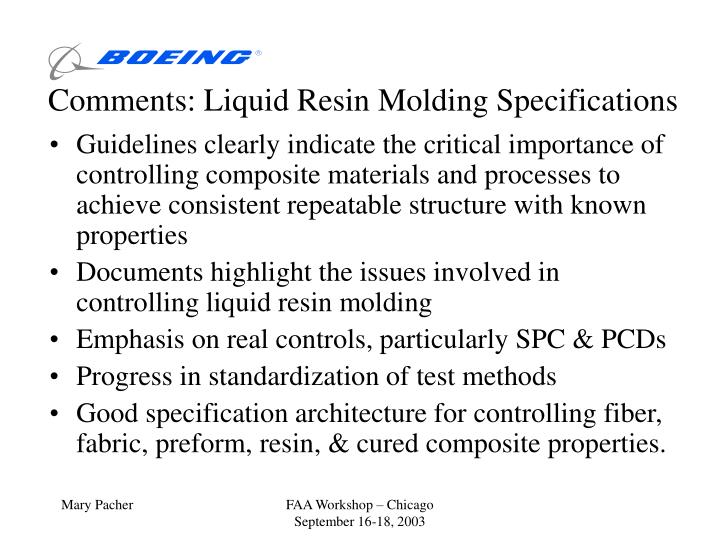 comments liquid resin molding specifications n.