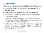 concerns liquid resin molding specifications