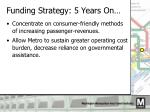 funding strategy 5 years on