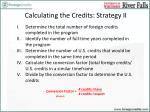 calculating the credits strategy ii