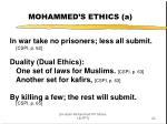 mohammed s ethics a