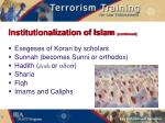 institutionalization of islam continued