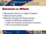 mainstream vs militants